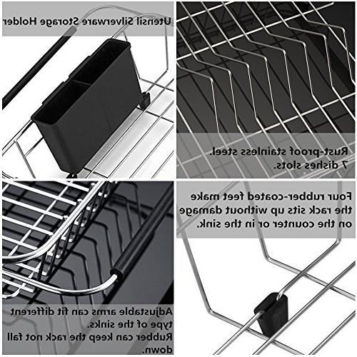 SANNO Drying Rack,Over in or Counter with Utensil Silverware Storage Rustproof Steel