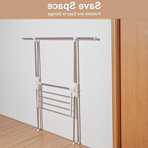 STORAGE MANIAC Expandable Clothes Drying Rack Stainless Laundry