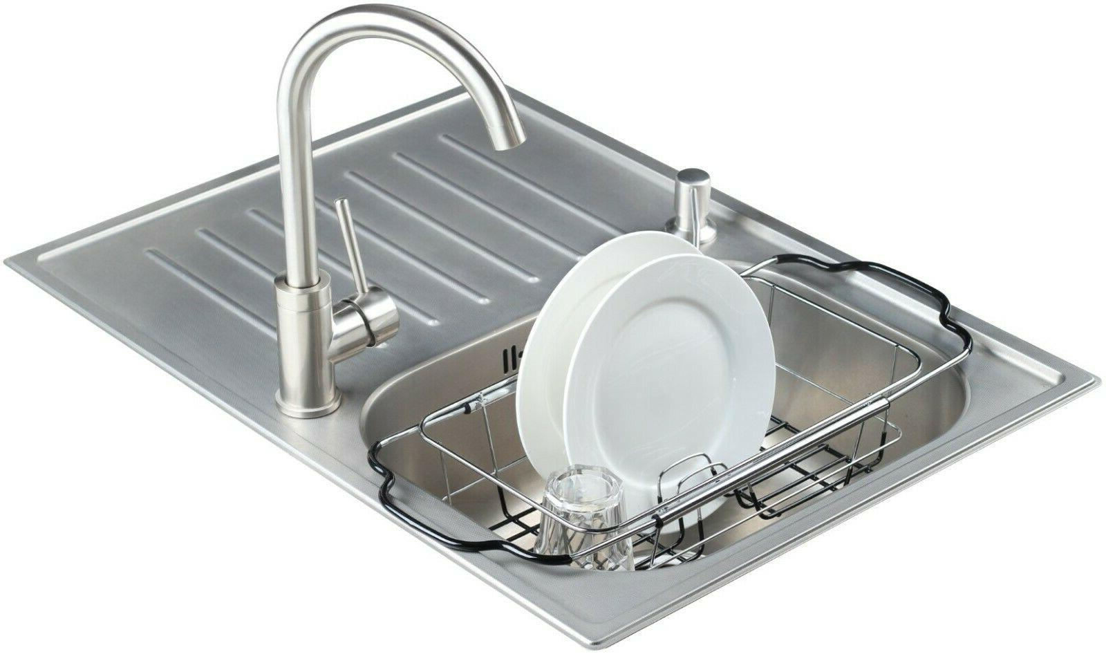 Expandable Over the Kitchen Sink Small Dish Drainer Drying R