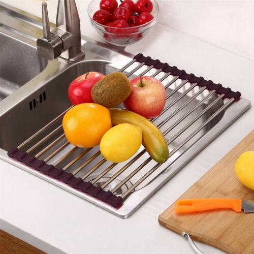Extra Large Sink Roll-Up Dish Rack Food Drainer Mat