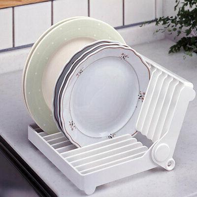 foldable dish drying rack holder plastic folding