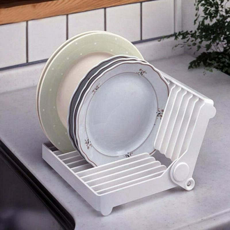Foldable Dish Plate Drying Rack Organizer Drainer White Stor