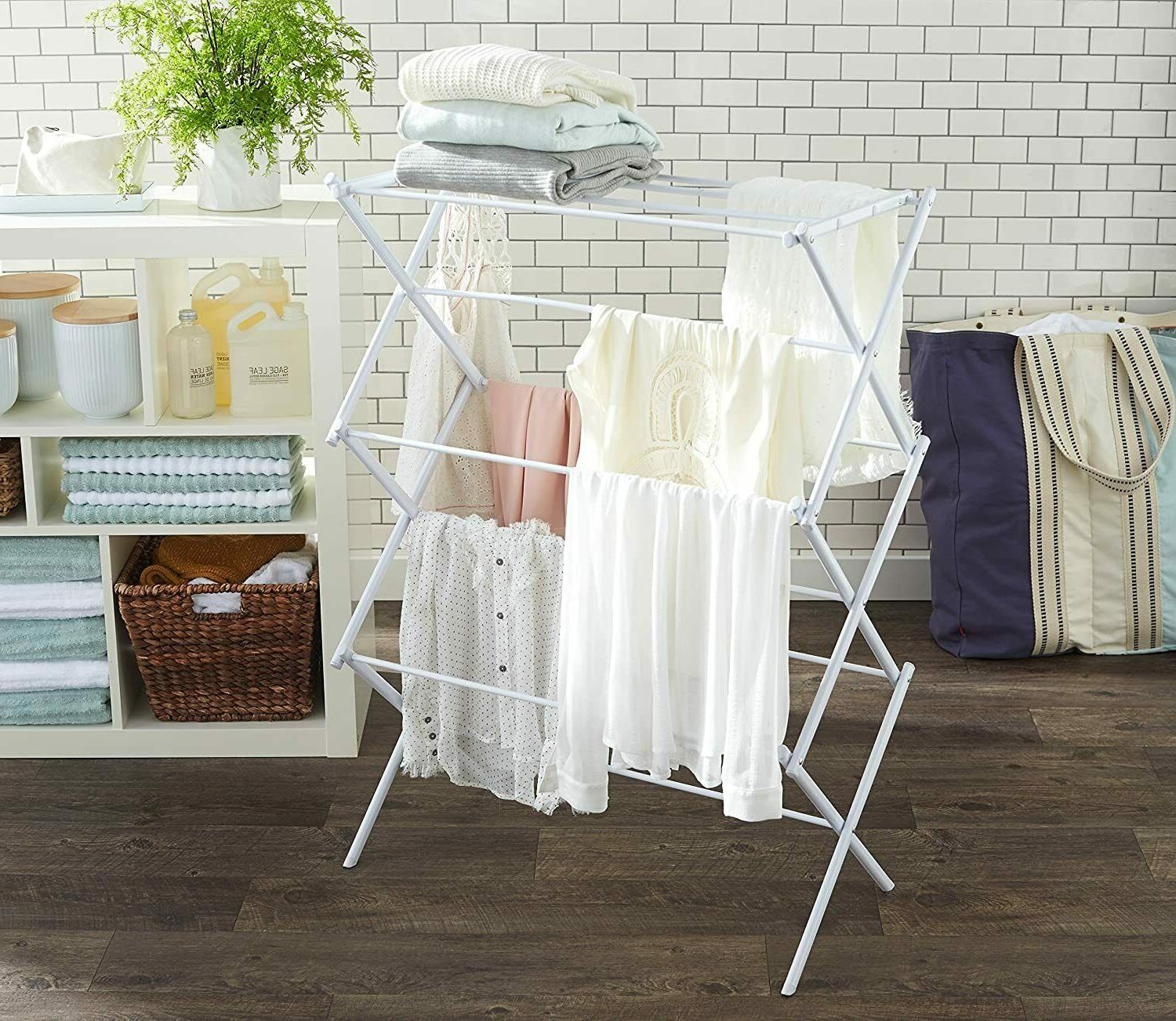 White Steel Folding Collapsible Drying Rack Organizer