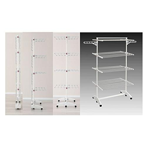PKB WORLD High Foldable in 8 Foldable Racks, 2 Wings 10 Hangers, 6 Stainless