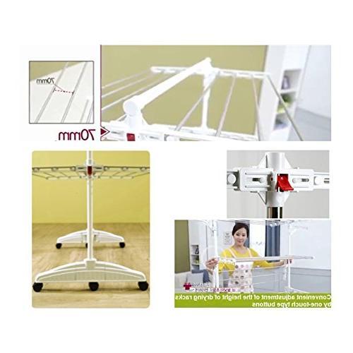 PKB High Capacity Foldable Drying in Racks, 64 Hookers, 2 Wings for Hangers, 6 Steel Bars,