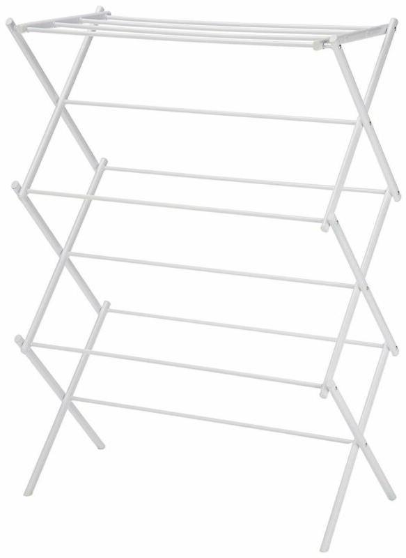 AmazonBasics Foldable Clothes Drying Laundry Rack - White -