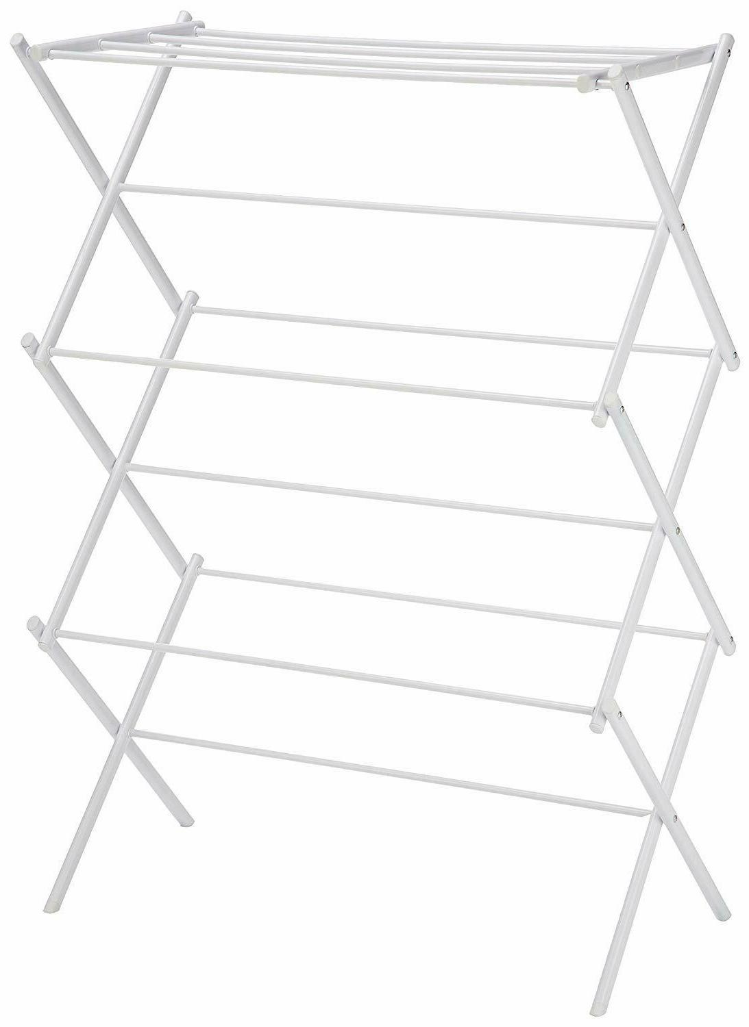 foldable clothes drying laundry rack white