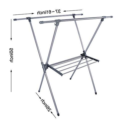 BAOYOUNI Foldable Clothes Drying Laundry X-Frame Double Pole,