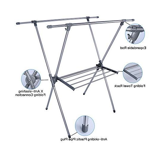 BAOYOUNI Foldable Drying Rack Laundry Stand X-Frame Double
