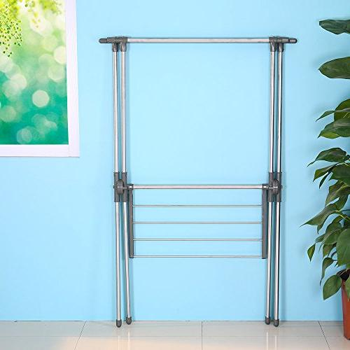 BAOYOUNI Drying Rack Stainless Steel Laundry Stand X-Frame Double Grey