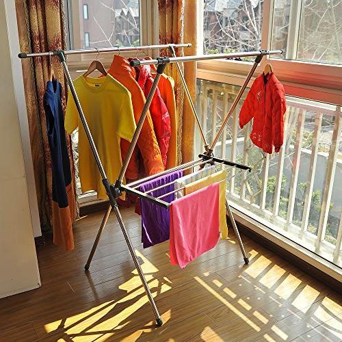 BAOYOUNI Foldable Drying Rack Steel Laundry X-Frame Double
