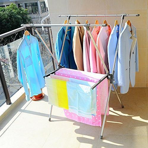 BAOYOUNI Drying Rack Steel Laundry X-Frame Grey