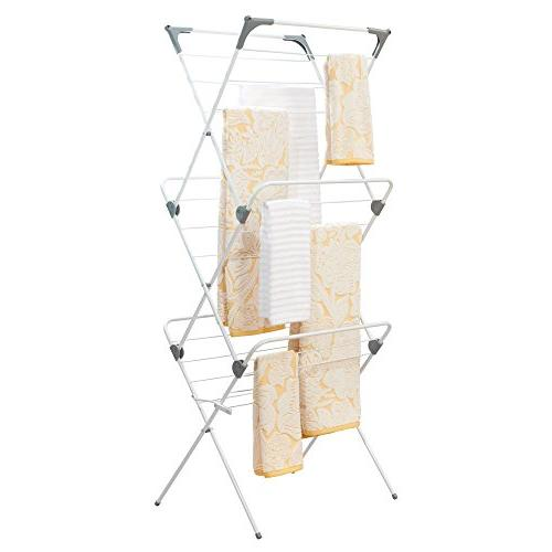 mDesign Foldable Laundry Compact, Portable for Storage Drying Rods, Feet of Frame Rust-Resistant Finish/Gray Ends