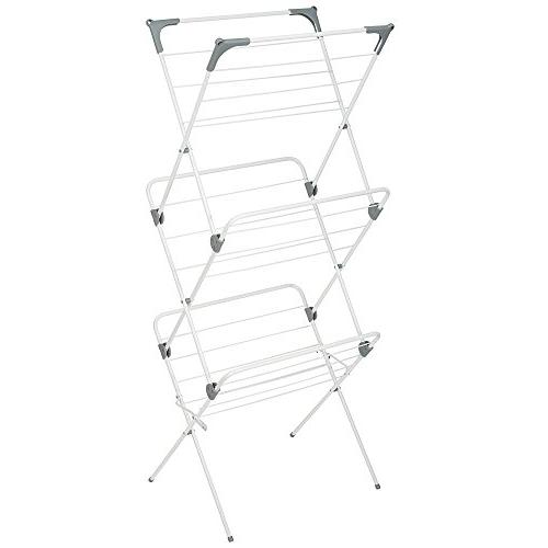 mDesign Large Laundry Drying - Compact, Collapsible for Storage - Drying Rods, of Frame Finish/Gray