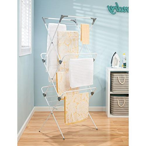 mDesign Large Laundry Rack - Compact, Portable for - Drying Rods, of Drying Frame Finish/Gray Ends