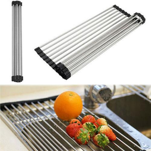 Over The Sink Kitchen Dish Drainer Drying Rack Roll-Up Foldi