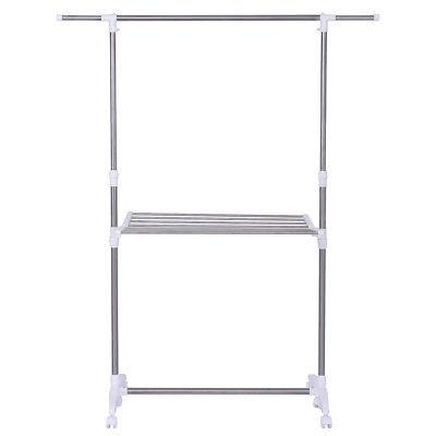Folding Drying Rack Extendable Rolling Storage Hanger Adjustable Laundry Clothes