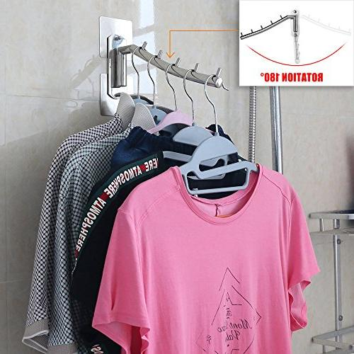 Folding Wall Hanger Rack Hook Stainless with Swing Holder Hanging System Closet Duty Rack Nail Free Screw Holes No Damage Wall 1 Pack