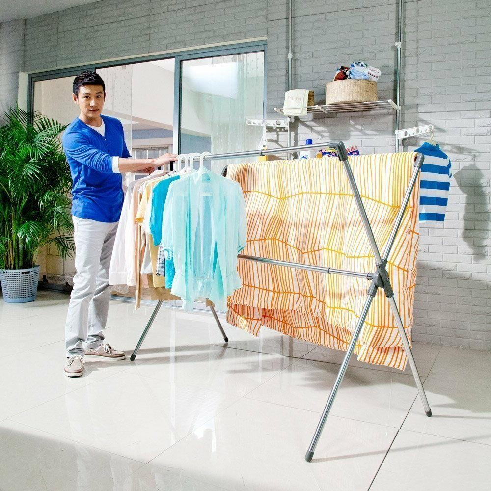 Folding Shaped Laundry Stand Rack Hanger Indoor