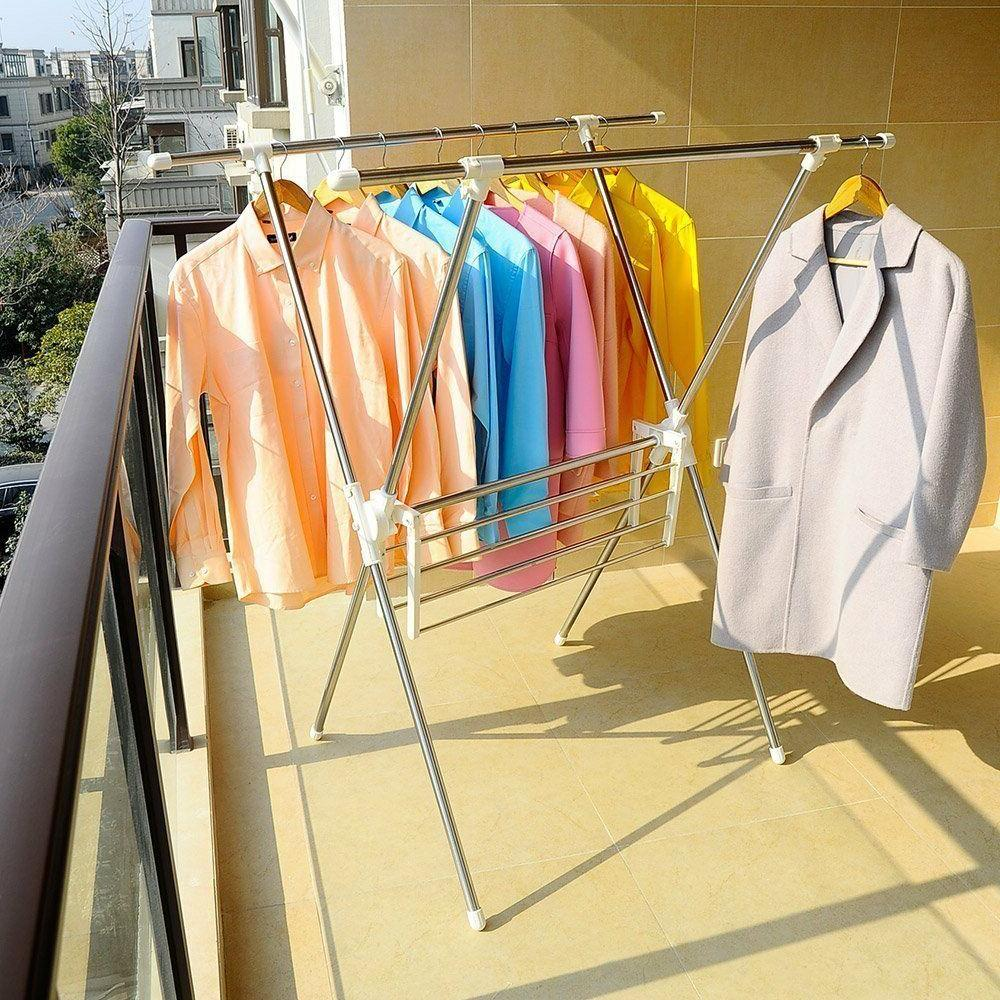 Folding Laundry Drying Stand Hanger Shelf Indoor