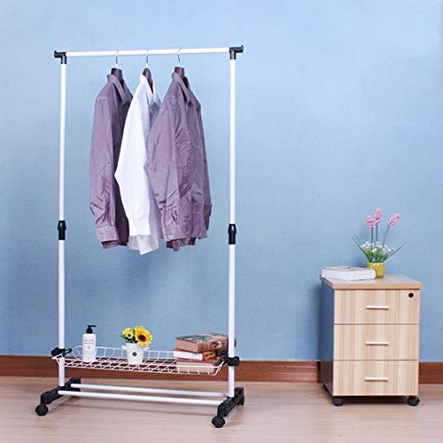 YAOBAO Coat Organizer Storage Unit with Shelf in White