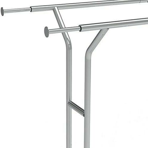 Simple Houseware Double Rail Clothing Garment Rack, Chrome