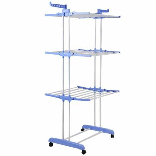 Heavy Duty Clothes Storage Drying Rack Portable Folding Hanger