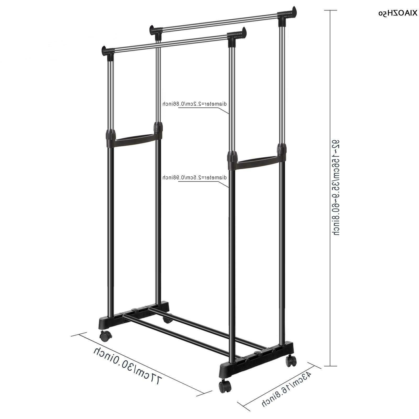 Heavy Duty Rack Clothes Display Rail Adjustable