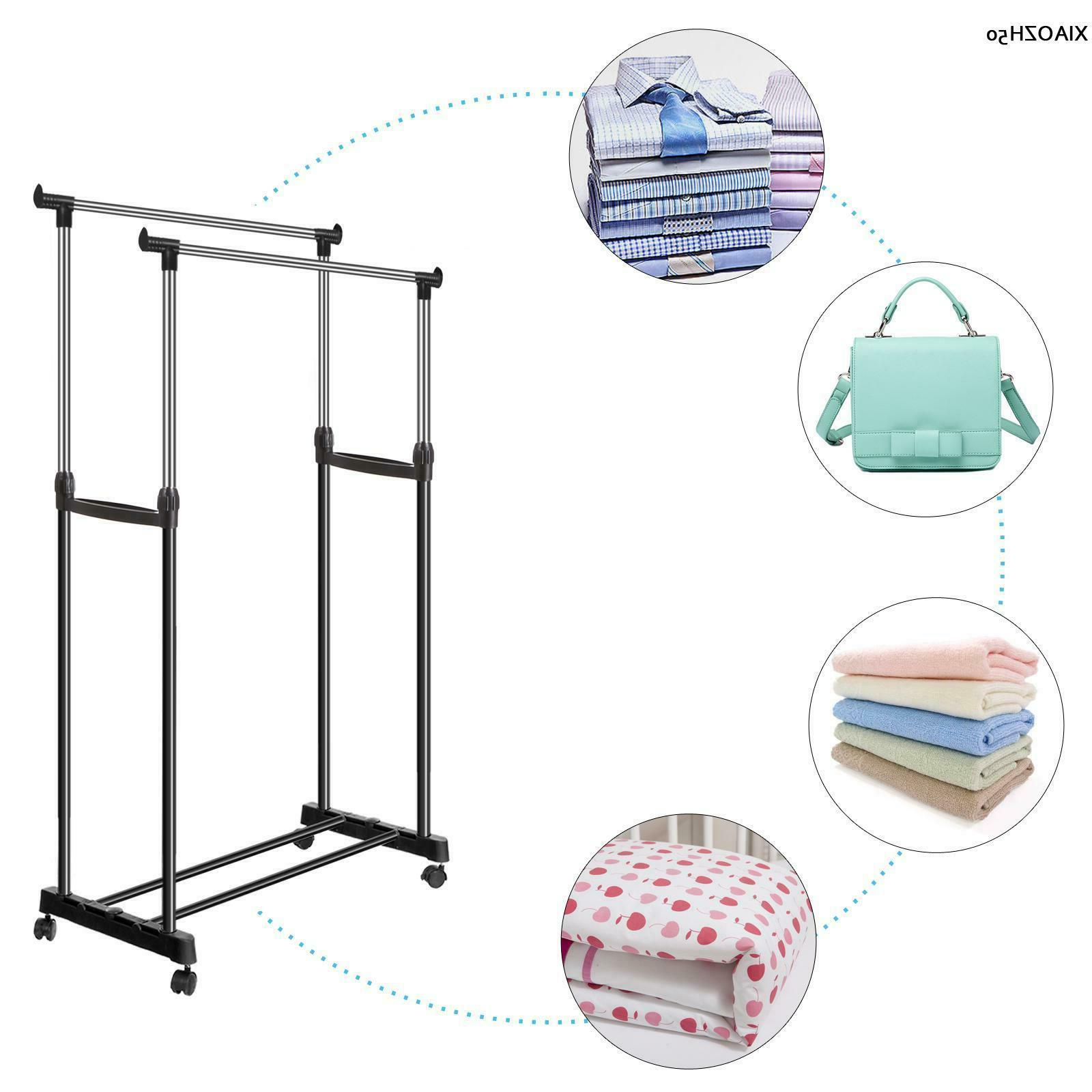 Heavy Wheeled Rack Clothes Hanging Display
