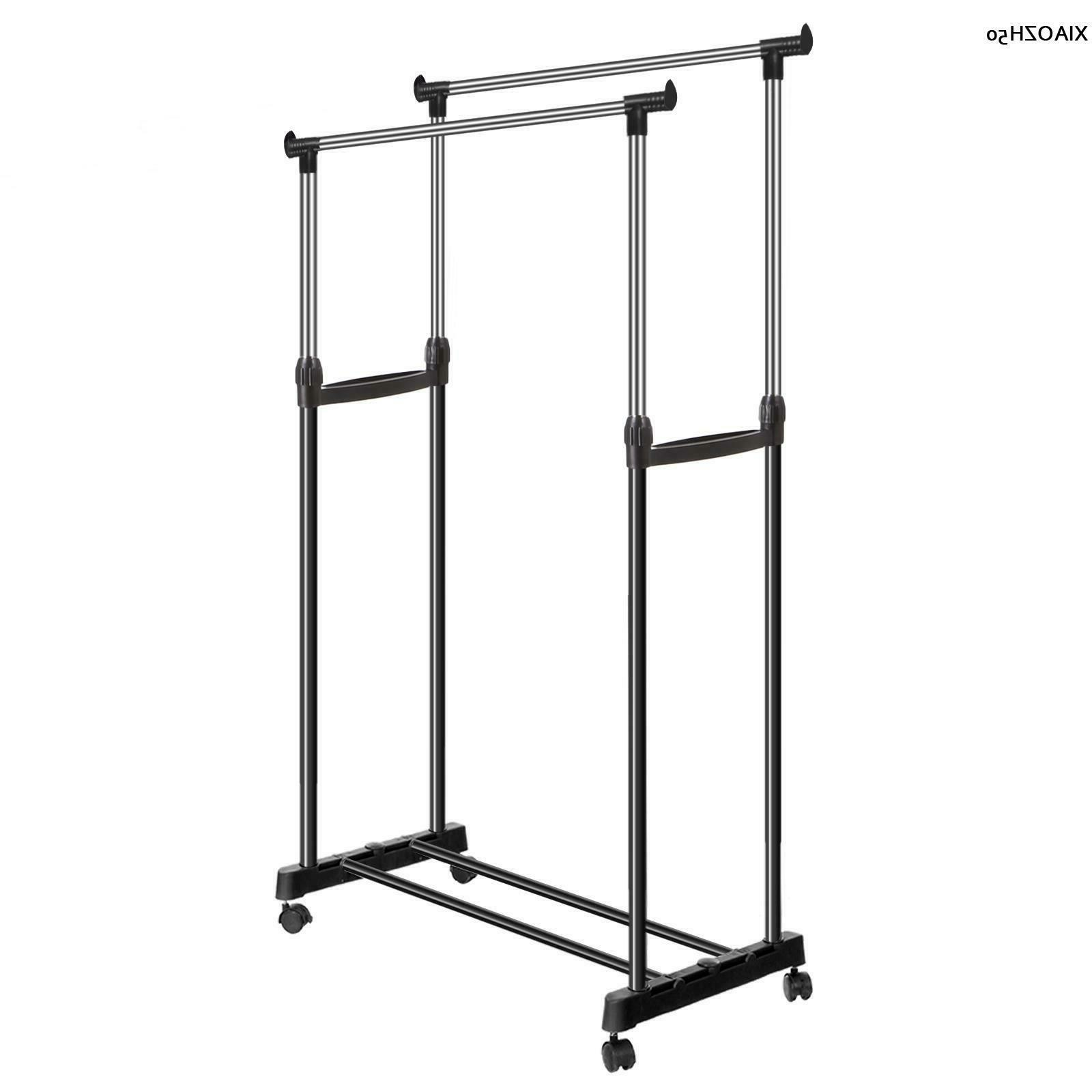 heavy duty wheeled garment rack clothes hanging