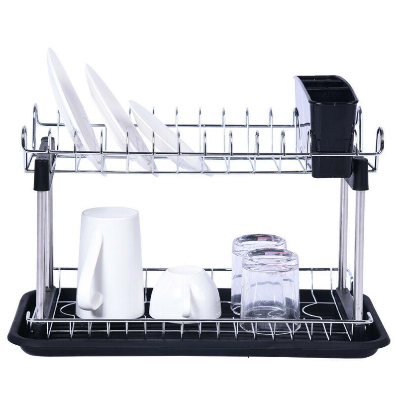 Over Drying Rack Drainer Silver Utensil Holder Organizer New