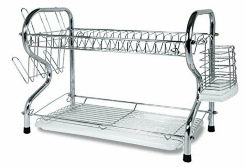 home 2 tier dish rack basics drainer