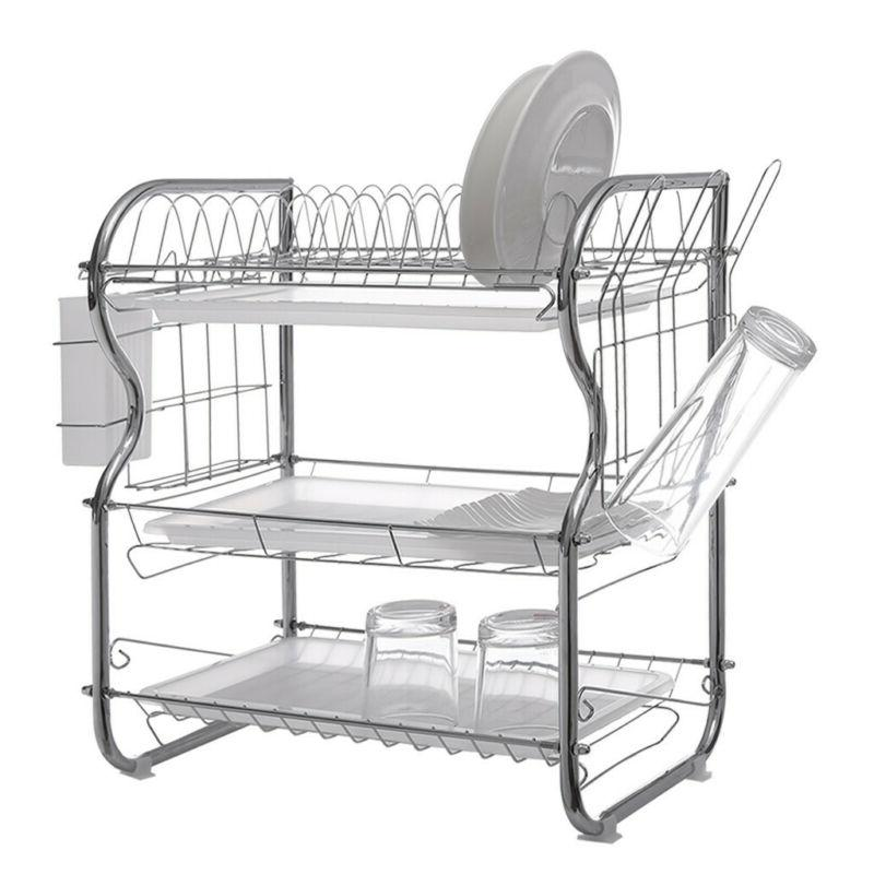 3-layer Drying Rack Kitchen Antirust Dish Collection Shelf T