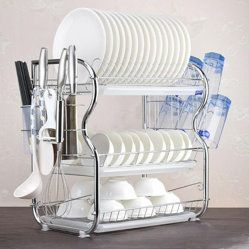 3 Tier Stainless steel Dish Drying Rack Over-the-Sink Kitche
