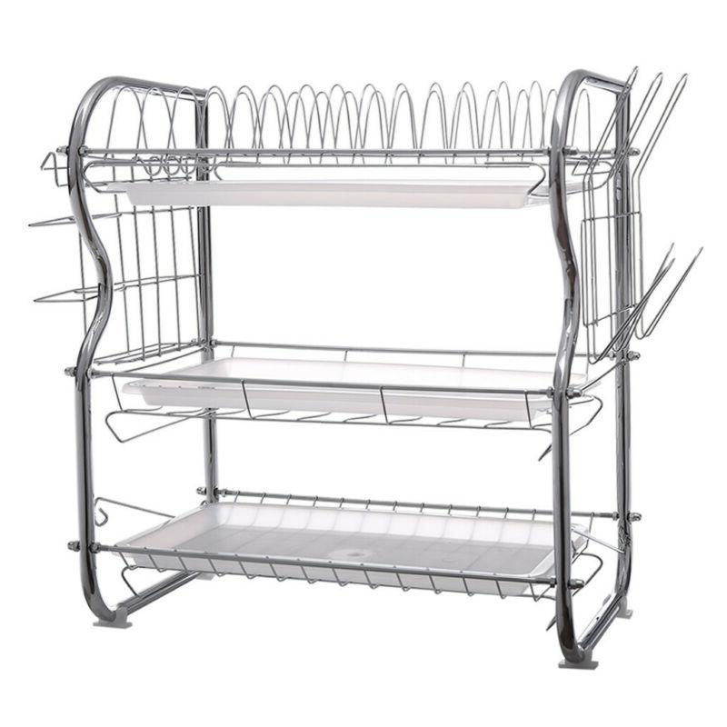 3 Tier Dish Plate Cup Drying Rack Over the Sink Drainer Stor