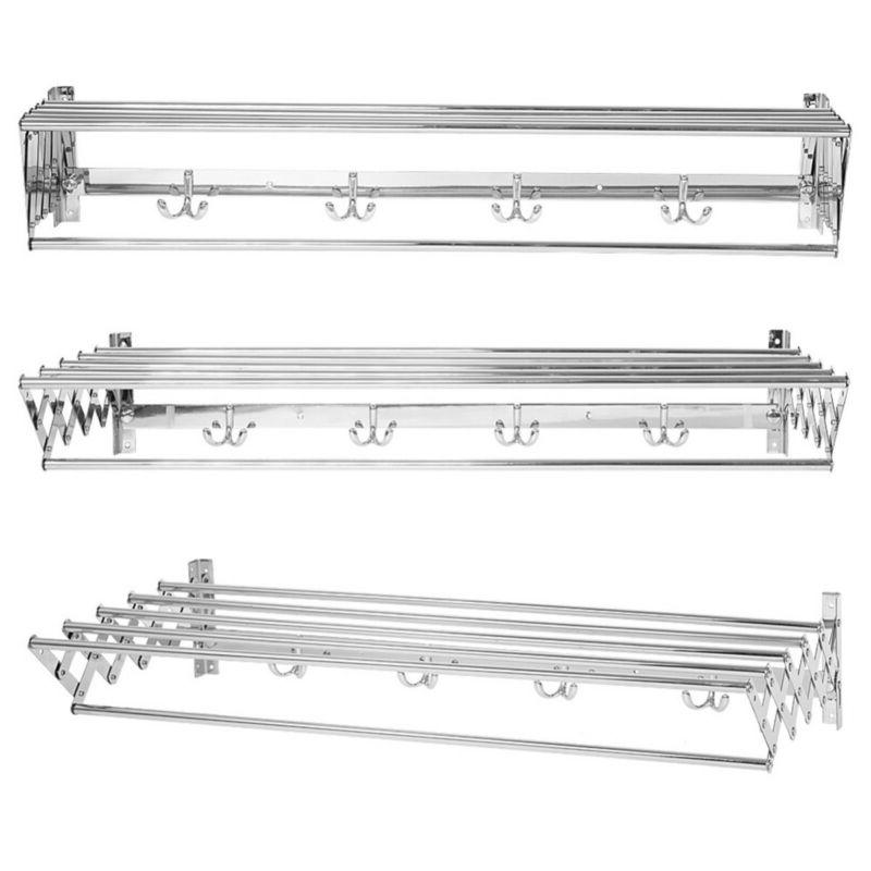 Wall-Mount Retractable Clothes Drying Rack Large Bathroom To