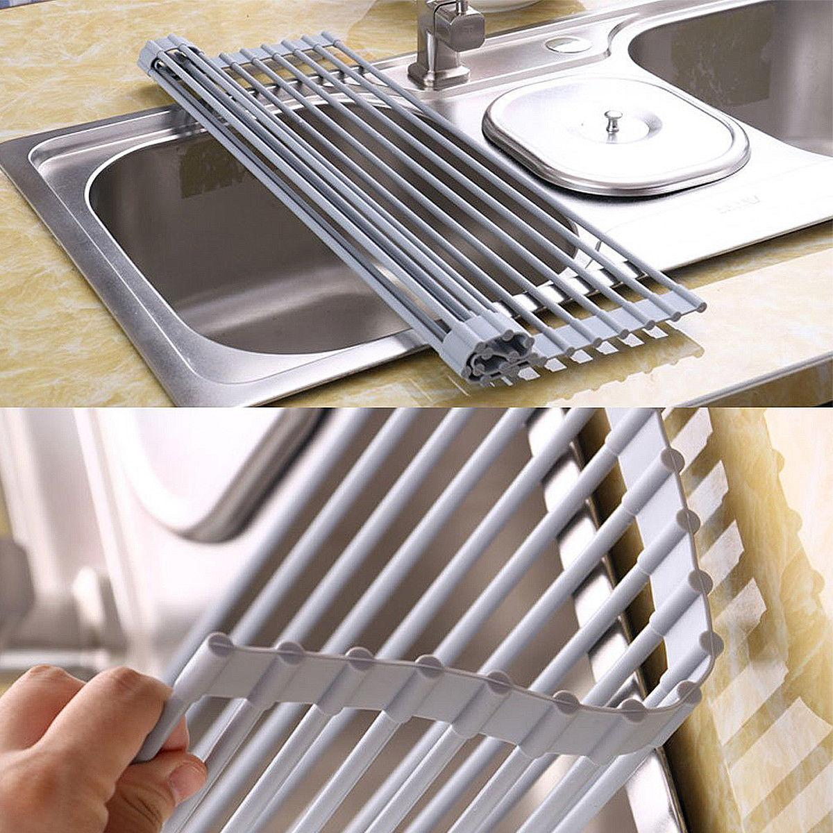 Stainless Steel Dish Drainer Drying Rack 18 Roll-up Dish Mat