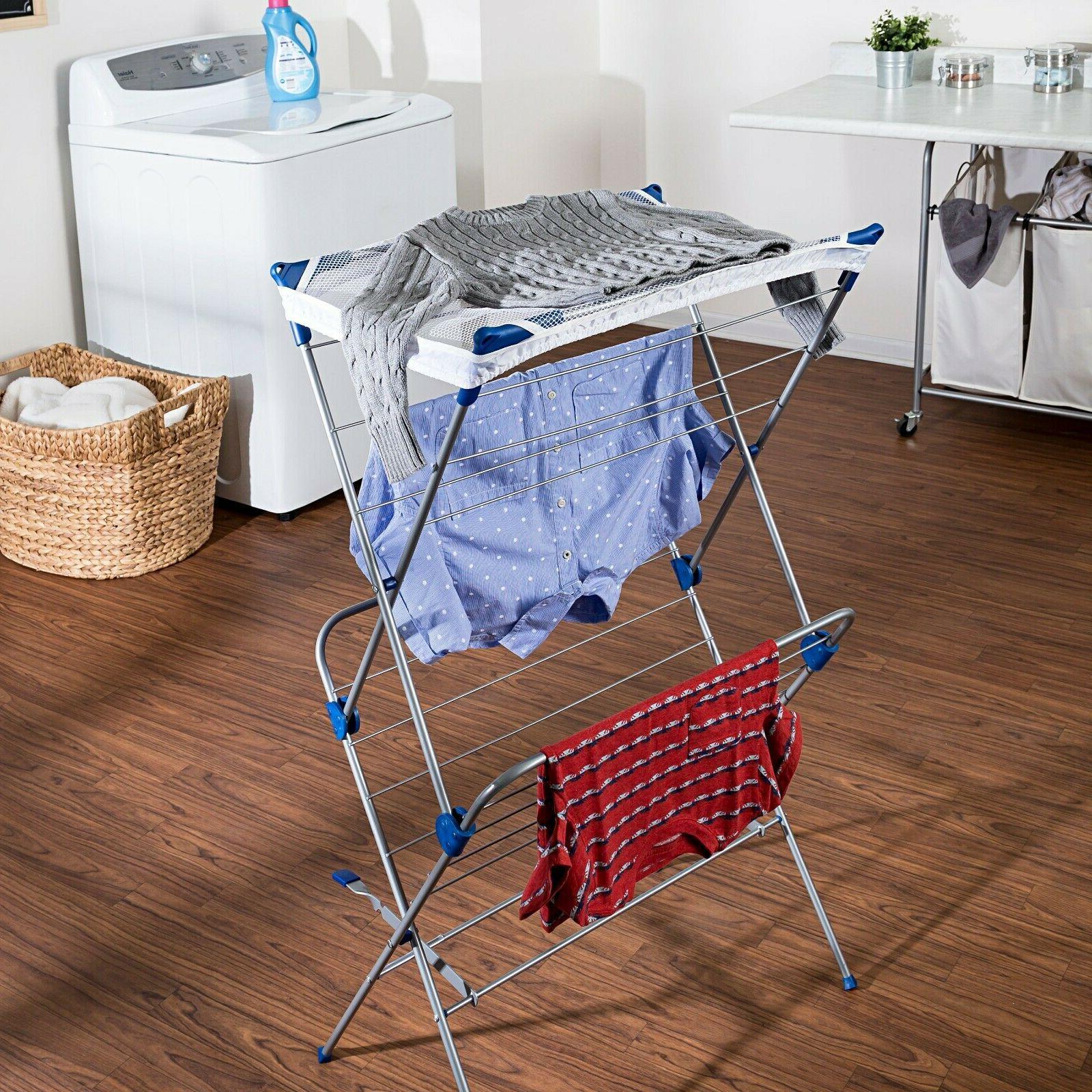 Honey 2-Tier Mesh Top Drying Rack, Silver/Blue