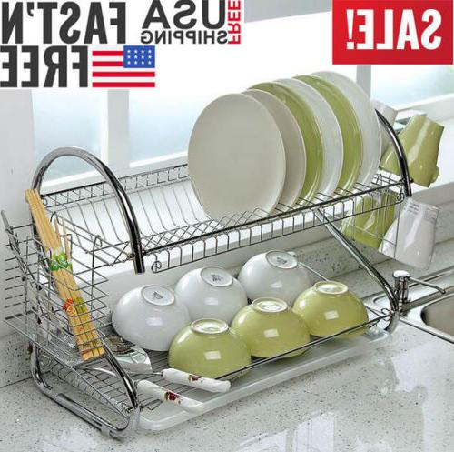 HOT 2-Tier Kitchen Dish Cup Drying Rack Holder Sink Drainer