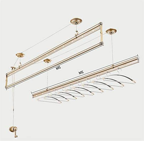 YXIUER Lifting Laundry Lift Drying 3-bar Wall-Ceiling-Mounted Dryer Clothes Aluminum, Stainless Drawstring