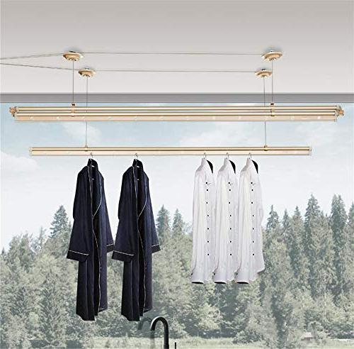 YXIUER Indoor Lifting 3-bar Clothes Dryer Clothes Rod,Sturdy
