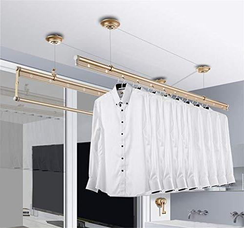 YXIUER Balcony Child-Safety Lifting Laundry 3-bar Dryer Aluminum, Stainless Drawstring