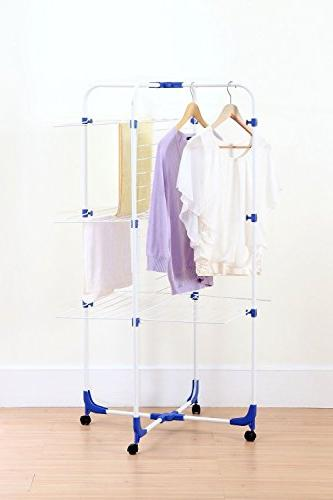 STORAGE MANIAC Clothes Drying Rack, Adjustable 3-tier Drying Rack Laundry