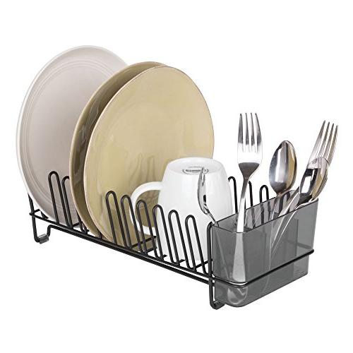 mDesign Compact Modern Metal Dish Rack Microfiber Set for Kitchen Sink Glasses, - Cutlery Tray - of -