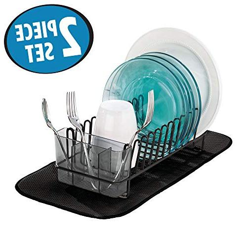 mDesign Dish Drying Microfiber Kitchen Drain Dry Glasses, Bowls Dishes - - Set 2 - Black/Smoke