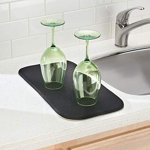 mDesign Dish Drying and Microfiber Set Kitchen - Drain Wine Glasses, Bowls - Tray - - Black/Smoke