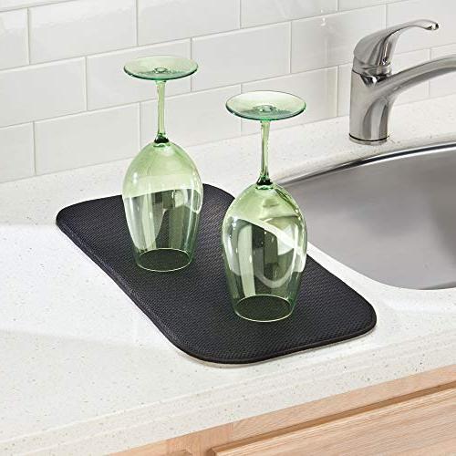 mDesign Dish Drying and Microfiber Set Kitchen - Drain Wine Glasses, Bowls - Tray - - Black/Smoke
