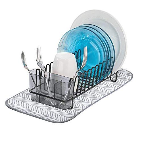 mDesign Compact Dish Microfiber Mat Kitchen Sink Drain and Dry Glasses, Bowls and - Removable Tray - of - Black/Smoke