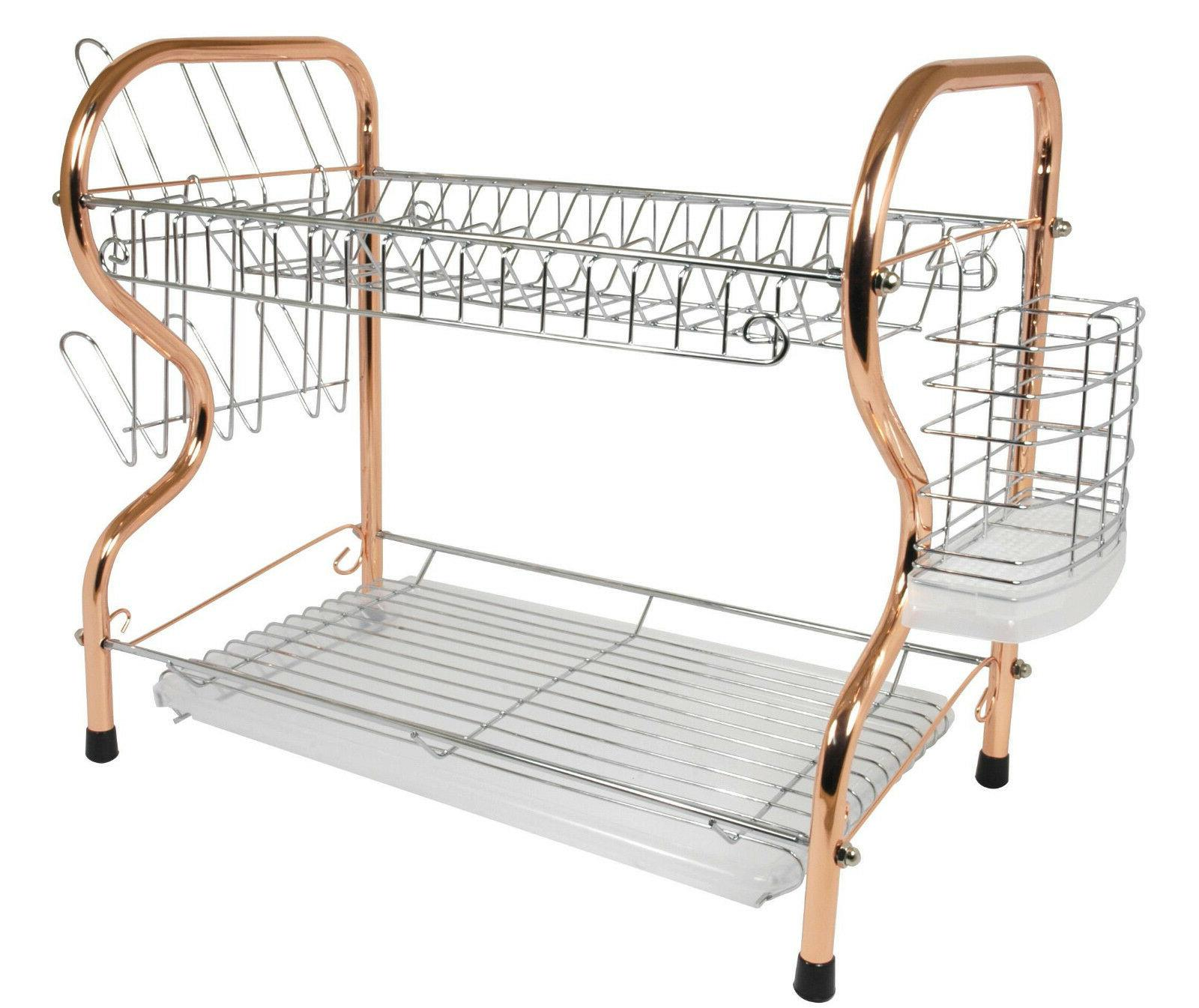 Kitchen Chrome Dish Drying Rack 2 Tier with Utensil Holder,