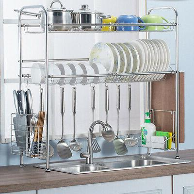 """38"""" Over The Sink Dish Drying Rack Stainless Steel Kitchen C"""